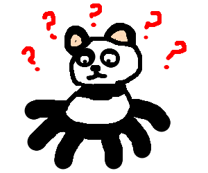 A panda confused to why he has so many legs