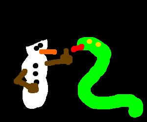 Frosty fights snake