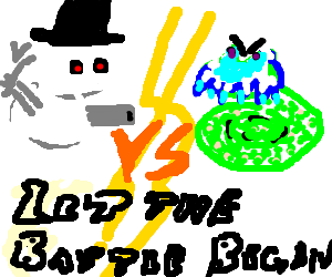 Robot snowman VS Snake with icicle face