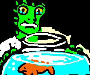 Lizard Man Concerned Over His Pet Fish