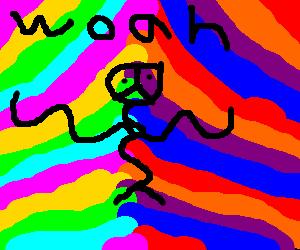 Hippie having an acid trip