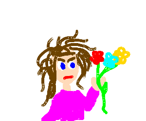 scraggly haired girl hates flowers.