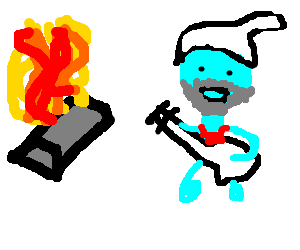 metal on fire  lead gitarist is smurf with beard - drawing by Tom24482 50d2e5d35