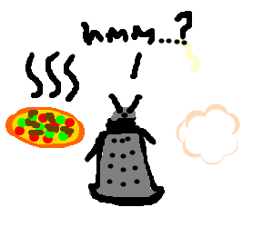 Dalek chooses between a chilli pizza and wool