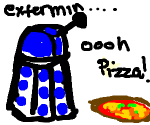 Dalek distracted by delicious pizza