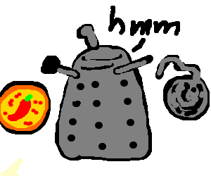 Dalek deciding between pepperoni pizza and yarn