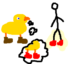 Duck jealous of man's red shoe