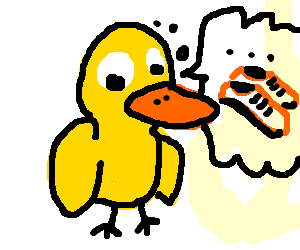 a yellow duck wants man's shoes