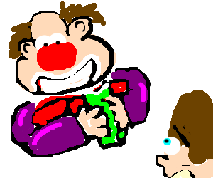 ugly clown reading book to surprised child