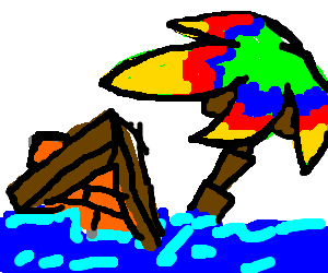 Psychedelic palm tree swept away by the flood