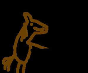 A black horse riding a brown horse like a human
