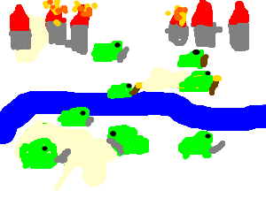 The toads crossing the river to invade 2 cities