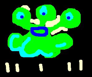 3 eyed green bloob monster speaks in binery