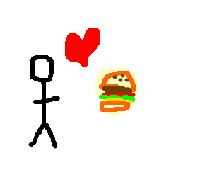 stickman loves his burger