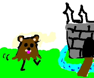 the head of a bear goes to a castle