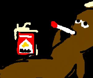 Mr. Hanky Enjoys a Smoke