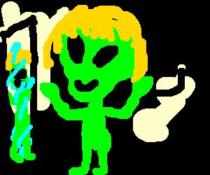 Green alien wearing a blonde wig