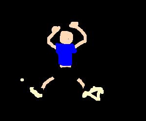 Man named 'Aughl' doing jumping jacks