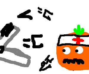 stapler   his kids attack an orange fruit medic