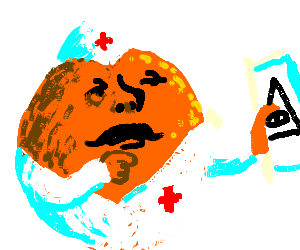 Medic orange with a mustache contemplates symbol