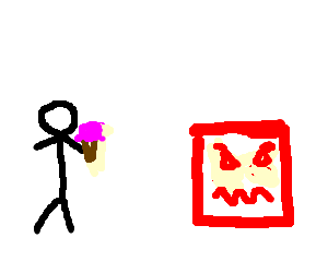 stick man steals angry red squares icecream