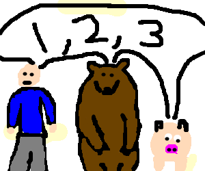 Man, bear and pig count to three