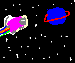 Nyan cat goes to saturn