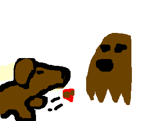 Dog throws meatball at brown ghost