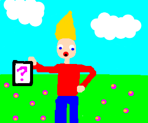 Blonde pointed head man shows secret on paper.