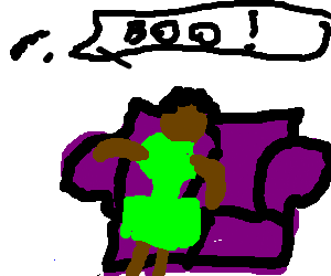 White kid attempts to scare black girl on couch