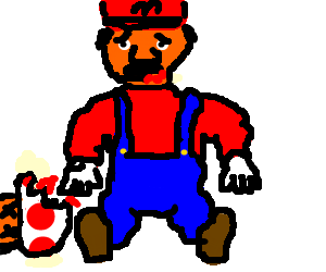 Sad fat mario out of mushroom people to eat.