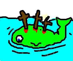 green whale has crosses stuck in his back