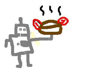 Robot carrying a pie that has bacon ears