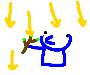 Raining Yellow Arrows Down On Smurf With Branch Drawing By Kurt9254