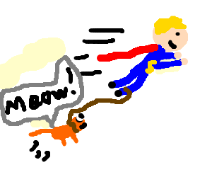 superman tows cat in flight