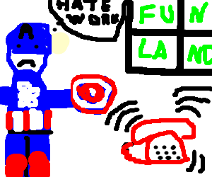 Cpt America dreams of fun, but red phone is ring