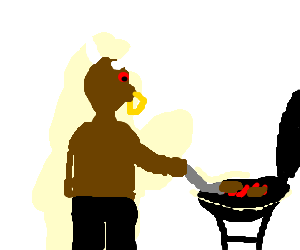 A minotaur grilling