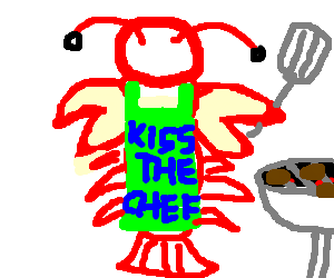 Alien lobster creature has a cook-out.