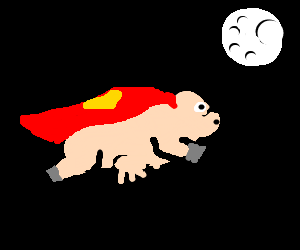 flying pig passes to the dessu of the moon