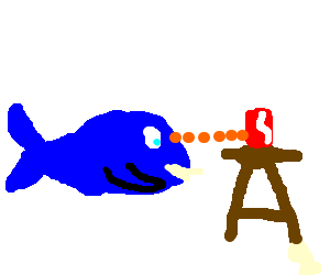 a whale sees a soda can on a stool and points