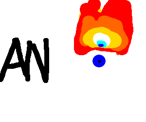 an stands next to flaming eyeball