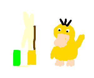 Upside down Offaly flag next to Psyduck