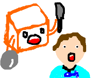 Angry cube attacks worried man w/ fish necklace