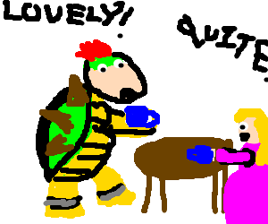 Bowser drinking tea civilly with Princess Peach