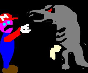 Mario fighting godzilla