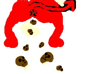 Satan poops out multiple tiny skulls