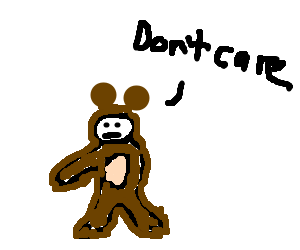 Amputee in open-chested bear suit feels apathy.
