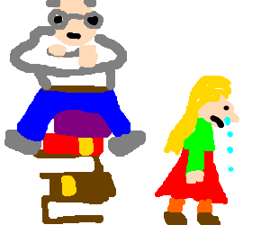 An old man not letting a little girl get books.