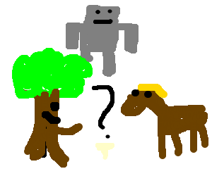 a robot comparing a treant and a horse
