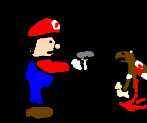 Stoic Mario shoots a bewildered deer